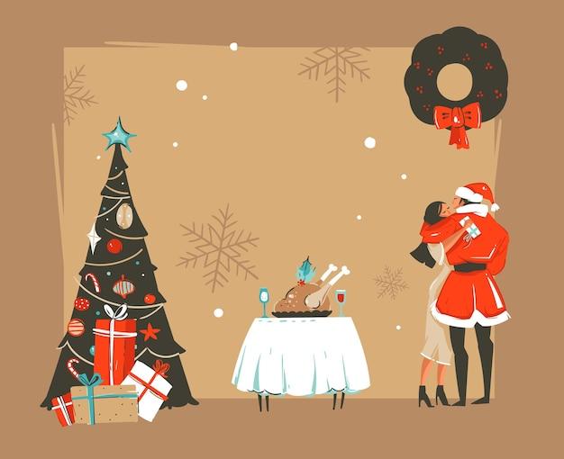 Ilustrações de desenhos animados de feliz ano novo desenhadas à mão Vetor Premium