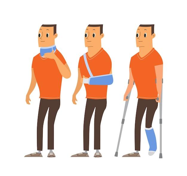 Ilustrações de desenhos animados de homem ferido. homem com pernas quebradas em molde de gesso, lesões no braço e pescoço. personagem isolado.