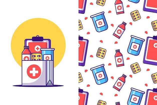 Ilustrações de desenhos animados de medicina padrão sem emenda