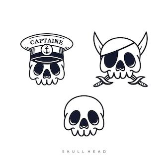 Ilustrações de desenhos animados de piratas com cabeça de caveira