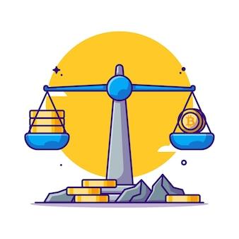 Ilustrações de desenhos em bitcoins em escala de equilíbrio