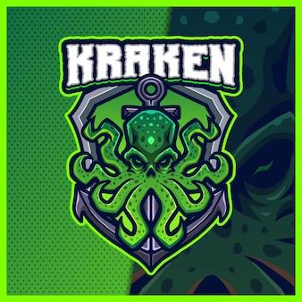 Ilustrações de design de logotipo kraken mascote esport
