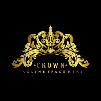 Ilustrações de design de luxo do logotipo gold royal crown