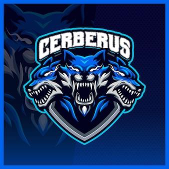 Ilustrações de design do logotipo do mascote cerberus hellhound esport, logotipo do lobo para streamer