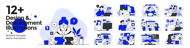 Ilustrações de design e desenvolvimento definidas em estilo de design plano