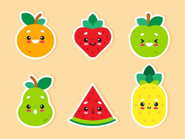 Ilustrações de design plano de frutas fofas do kawaii