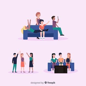 Ilustrações de dia de amizade de mão desenhada