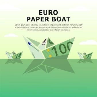 Ilustrações de dinheiro de vetor de papel de barco euro