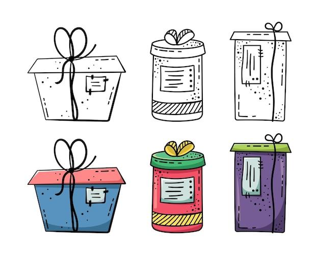 Ilustrações de doodle de belas caixas de presente. um presente embalado em uma linda caixa com uma fita.