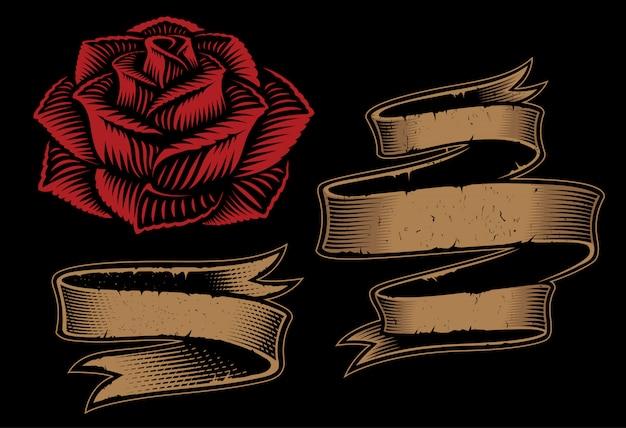 Ilustrações de duas fitas e rosas para o projeto no fundo escuro.