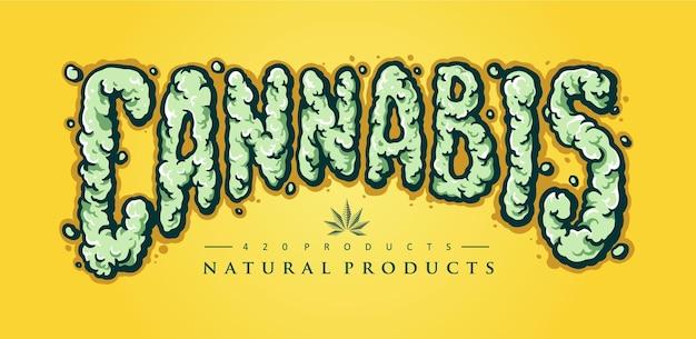 Ilustrações de elementos de fumaça de texto de cannabis