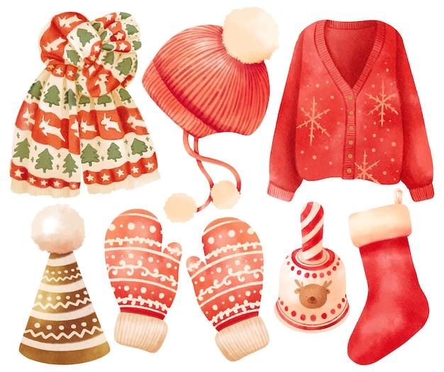 Ilustrações de elementos de roupas de natal e estilos de aquarela