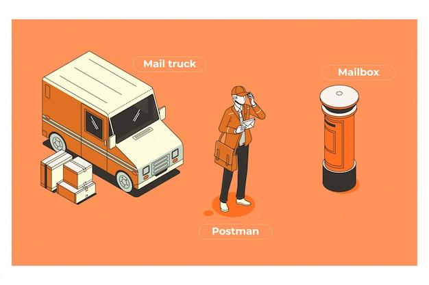 Ilustrações de equipamento de carteiro
