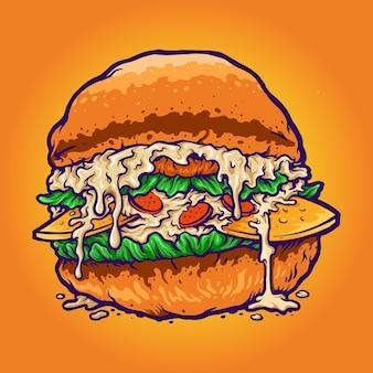 Ilustrações de estilo cartoon fastfood de hambúrguer