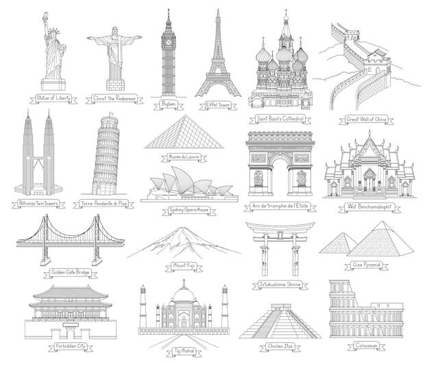 Ilustrações de estilo de desenho de arte de doodle de viagens