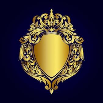 Ilustrações de estilo de ornamentos vintage em emblema de moldura dourada luxuosa
