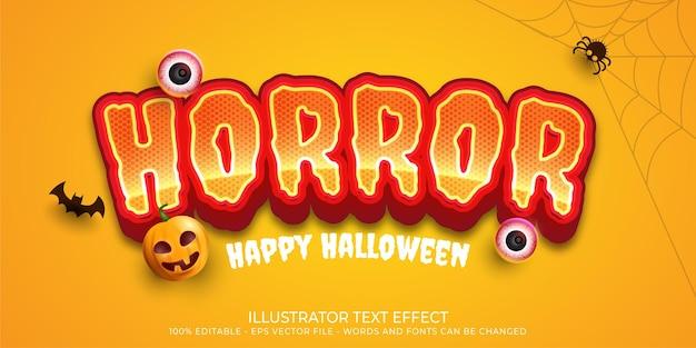 Ilustrações de estilo de terror com efeito de texto editável