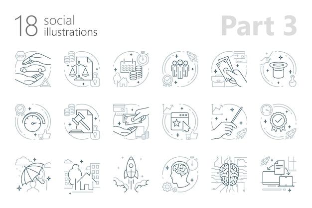 Ilustrações de estrutura de tópicos de lei