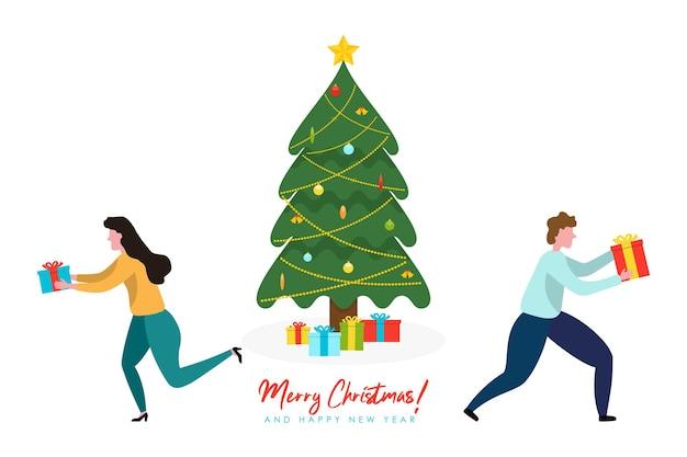 Ilustrações de feliz natal feliz ano novo com árvore de natal decorada e pessoas com caixa de presente
