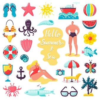 Ilustrações de férias de verão praia mar, pessoas no conjunto de ícones isolados de férias de verão