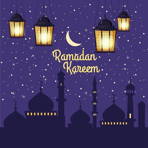 Ilustrações de férias ramadan kareem com lanternas árabes e o crescente dourado, céu estrelado
