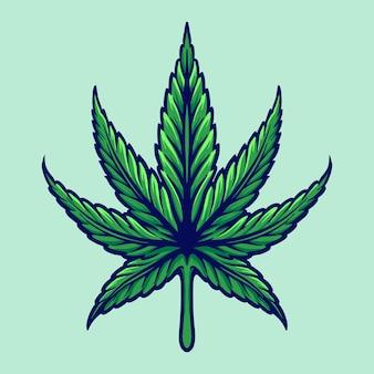 Ilustrações de folhas de cannabis botânicas de ervas daninhas