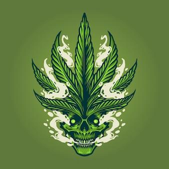 Ilustrações de fumaça de crânio ilustrações de folhas de maconha