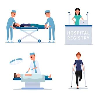 Ilustrações de funcionários e pacientes do hospital, cirurgião na sala de cirurgia, enfermeira, paramédico ajudando homem ferido
