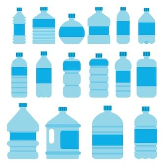 Ilustrações de garrafas de plástico vazias. recipiente de plástico para bebida de água limpa e líquida, bebida mineral fresca