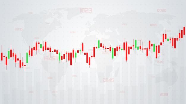 Ilustrações de gráficos de barras que sobem e descem com um gráfico de barras vermelho