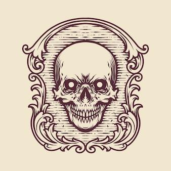 Ilustrações de gravura de crânio com moldura vintage