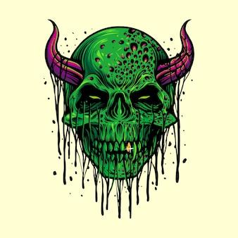 Ilustrações de halloween com o crânio do mal de zumbi