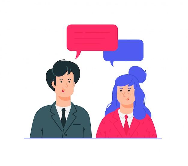 Ilustrações de homem e mulher em trajes de negócios.