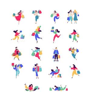 Ilustrações de homens e mulheres com compras