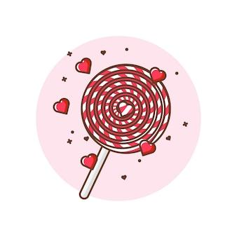 Ilustrações de ícone do pirulito dos namorados. valentine ícone conceito branco isolado.