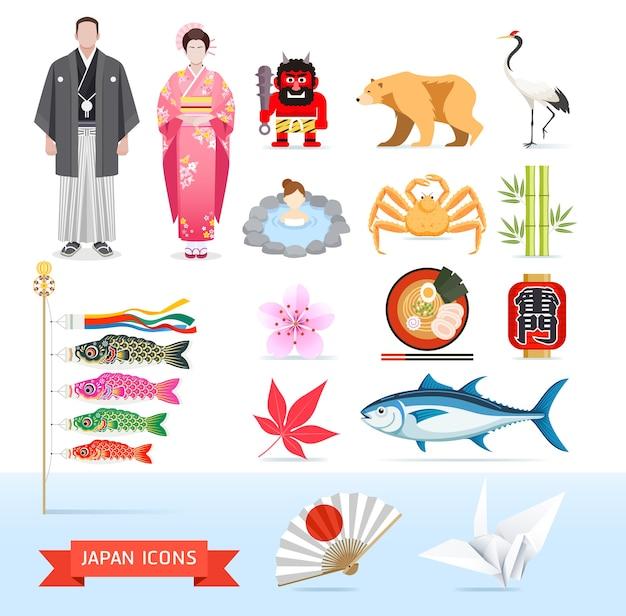 Ilustrações de ícones do japão Vetor Premium