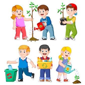 Ilustrações de jardinagem de crianças felizes