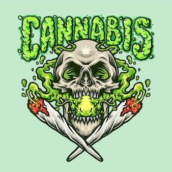 Ilustrações de joint smoking skull cannabis joint