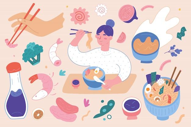 Ilustrações de loja de ramen, ingrediente de sopa de macarrão