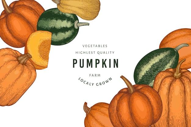 Ilustrações de mão desenhada de cor de abóbora. cenário de ação de graças em estilo retro com colheita de abóbora. fundo de outono.