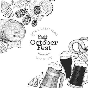 Ilustrações de mão desenhada de octoberfest. modelo de design do festival de cerveja de saudação em estilo retro. fundo de outono.