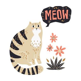 Ilustrações de mão plana vector desenhada. gato bonito com flores.