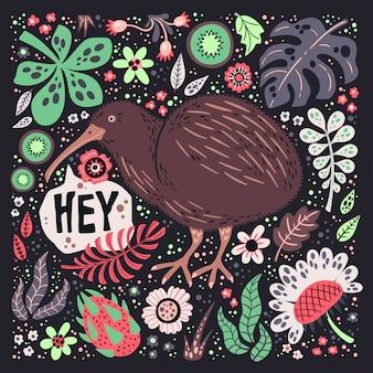 Ilustrações de mão plana vector desenhada. pássaro bonito do quivi com plantas e flores.