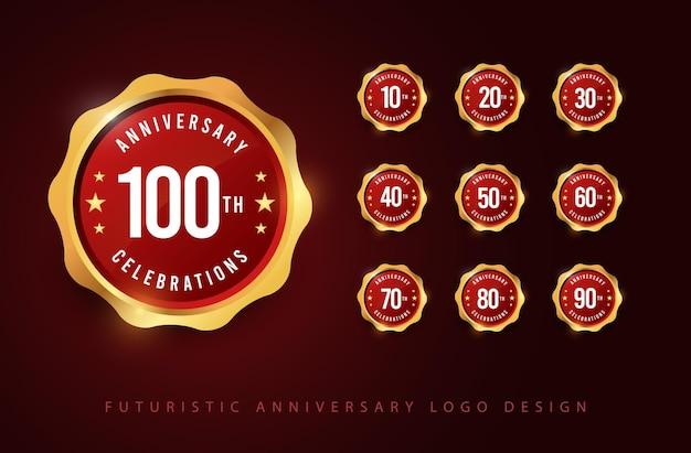 Ilustrações de modelo de design de logotipo para celebrações de aniversário