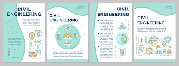 Ilustrações de modelo de folheto de engenharia civil