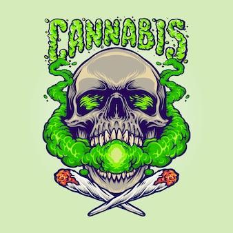 Ilustrações de nuvens de cannabis com cabeça de crânio fumando maconha mascote