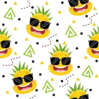 Ilustrações de padrão de abacaxi fofo com óculos