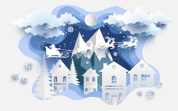 Ilustrações de papelaria e papai noel no inverno. arte de design e artesanato