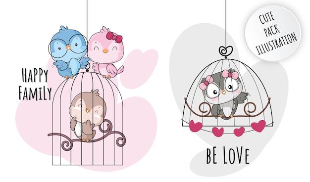 Ilustrações de pássaros de família feliz de animais planos fofos para crianças