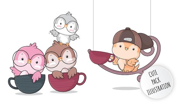 Ilustrações de pássaros pequenos de animais fofos e planos para crianças